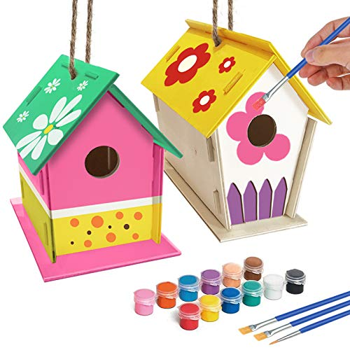 ORIENTAL CHERRY Crafts for Kids Ages 48  2Pack DIY Bird House Kit  Build and Paint BirdhouseIncludes Paints amp Brushes Wooden Arts for Girls Boys Toddlers Ages 35 812