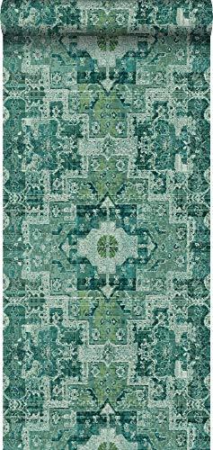 Tapete orientalisches Kelim-Patchwork Smaragdgrün - 148659 - von ESTAhome.nl