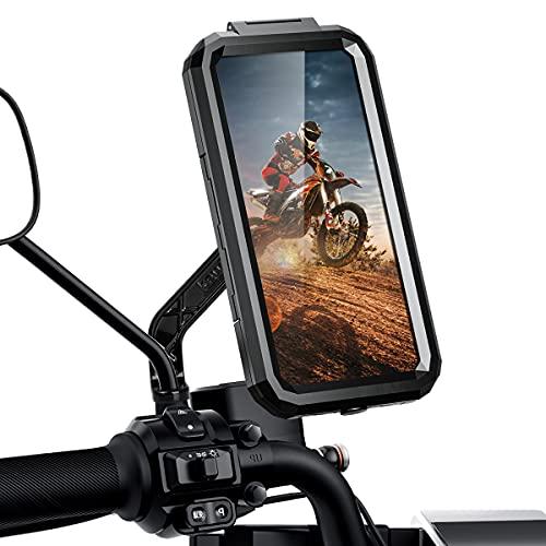 ENONEO Soporte Movil Moto Impermeable 360° Rotación Soporte Telefono Motocicleta Funda Soporte Smartphone Moto Retrovisor para Telefono (Negro, L)