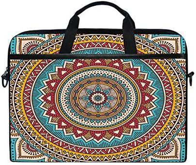 HaJie laptoptas Boho Etnische Bloemen Mandala Computer Case 14145 inch Beschermende Tas Reizen Aktetas met Schouderband voor Mannen Vrouwen Jongen Meisjes