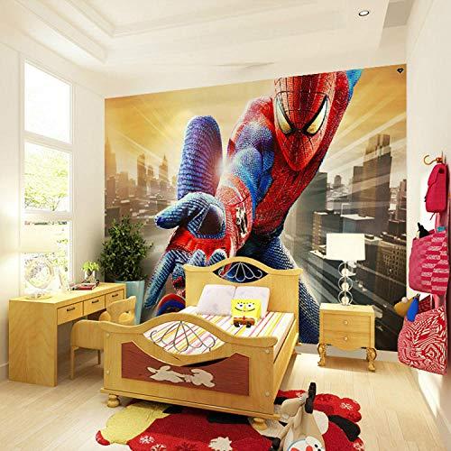 RQWBH zelfklevend behang 3D muurschildering Hero muurschildering spin kinderen jongen kinderen fotobehang behang hoofddecoratie kunst kamerdecoratie slaapkamer kinderslaapkamer behang jongen kind 300x210 cm (BxH) 6 Streifen - selbstklebend