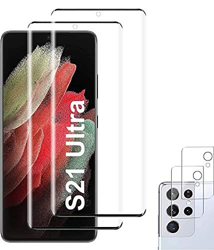 【2+2枚セット】for Galaxy S21 Ultra フィルム 全面 Galaxy S21 Ultra ガラスフィルム+2枚入り レンズフィルム 9Dラウンドエッジ加工/業界最高硬度9H/高透過率/3D Touch対応/自動吸着 強化ガラス液晶保護フィル 全面フルカバー (ブラック/黒)