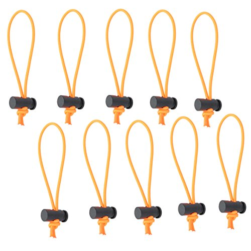 Foto&Tech Multipurpose Extra Thick Elastic Cable Tie and Organizer, Adjustable Cable Strap Toggle Tie, Reusable Tangle Tamer, Cable Management for Cord and Cable (10x 16CM, Orange)
