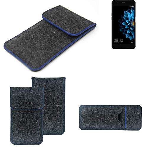 K-S-Trade Filz Schutz Hülle Für Hisense A2 Schutzhülle Filztasche Pouch Tasche Hülle Sleeve Handyhülle Filzhülle Dunkelgrau, Blauer Rand