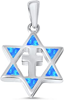 Oxford Diamond Co Lab Created Opal Star of David with Cross .925 Sterling Silver Pendant Colors Available