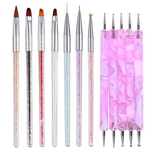 12pc Gel Nail Art Brushes Tools Kits,7pc Crystal Handle Nail Art Painting Drawing Liner Brush Pens with 5pc Double Sized Mandala Rock Nail Dotting Tools. (Crystal)