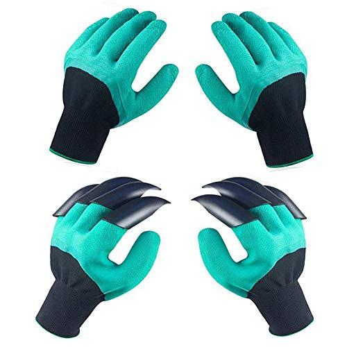 Garden Genie - Guantes de jardín con garras, 2 pares de guantes de jardín verdes impermeables para excavar plantación, mejores guantes de jardinería para jardinero (hombres o mujeres)