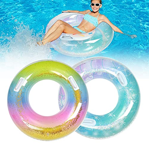 Inflatable Pool Floats Kids with Handles(2 Pack), Pool Floats Tube, Pool Inner Tube Floats for Adults, Swimming Rings Water Pool Floats Toys for Beach, Pool Party, Swimming Pool