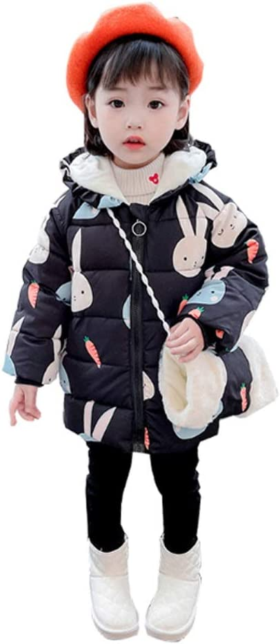Kids Down Jacket Girl's Down Jacket Warm Winter Coat Hooded Puffer Jacket Mid-Length Down Coat Fashionable Children's Jacket Down Coats (Color : Black, Size : 110)