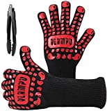 "Vlampo BBQ Gloves Heat Resistant Grill Gloves XL for Men, 1472°F Kitchen Oven Mitts for Baking, Silicone Non-Slip Large Cooking Gloves for Hot Food Grilling Barbecue Smoker Campfire 14"" (Black Red)"
