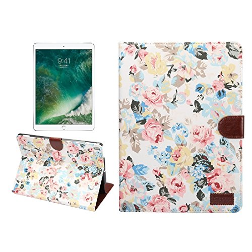 Un known For iPad Pro 10.5 inch Flower Pattern Cloth Surface Horizontal Flip Leather Protective Case with Holder & Card Slots & Wallet& Sleep Accessory Compatible Replacement (Color : White)