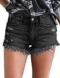 Uni-Wert Pantalones Cortos Mujer Jeans Vaqueros Básicos Rotos Cintura Alta Verano Denim Hot Pants con Bolsillos Jeans Shorts de Borla