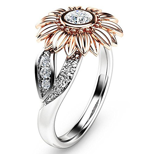Bokeley Valentine s Day Rings Gift, 2-in-1 Womens Vintage White Diamond Silver Engagement Wedding Band Ring Set (Rose Gold, US Size: 7)
