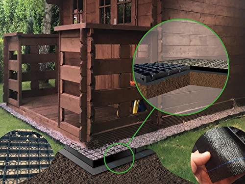 SHED BASE GRID/GREENHOUSE BASE GRID 2M X 2.5M SUITS 6 x 8 FEET GREENHOUSES & SHED BASES 8 x 6 FEET = FULL ECO KIT + HEAVY DUTY MEMBRANE - PLASTIC ECO PAVING SLAB BASES & DRIVEWAY GRIDS