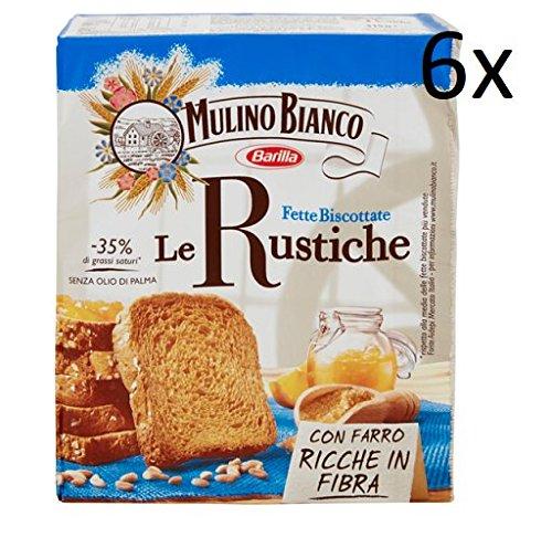 6x Mulino Bianco Fette biscottate Le rustiche 315g mit Dinkel Zwieback brot