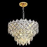 Modern Crystal Chandelier, 6-Lights Chrome Round Crystal Raindrop Chandelier Light, Contemporary 2- Tier Geometric Ceiling Pendant Light Fixture for Living Room, Dining Room