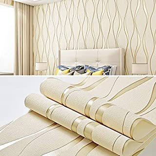 CHENCHUAN Household Products Simple 3D Water Ripple Non-Woven Wallpaper Home Decoration Wall Sticker(White) Home Decor Wal...
