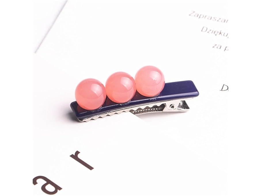 さておき黙証言Osize 美しいスタイル 子供の色のボールシュガービーンズダックビルクリップサイドクリップヘアピンヘアアクセサリー(ピンク)