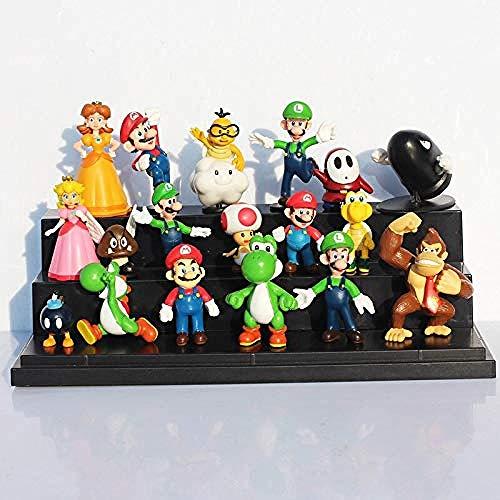 LDD-wd 18 Stück/Los Super Mario Bros Yoshi Dinosaurier Pfirsich Kröte Goomba PVC Actionfiguren Spielzeug