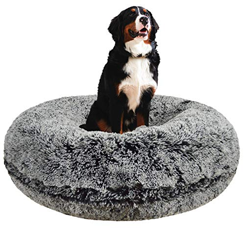 Bessie and Barnie Signature Midnight Frost Luxury Shag Extra Plush Faux Fur Bagel Pet/Dog Bed (Multiple Sizes), L - 42'