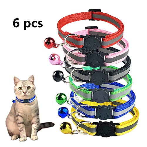 TCBOYING Breakaway Cat Collar with Bell, Mixed Colors Reflective Cat Collars - Ideal Size Pet Collars for Cats or Small Dogs(6pcs/Set)