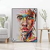Retrato abstracto pintura al óleo moderna lienzo pintura arte de la pared mural cartel pintura sin marco A 70x90cm