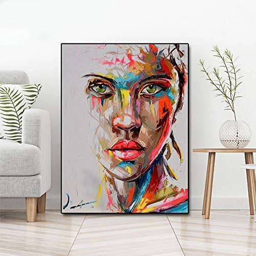 Retrato abstracto pintura al óleo moderna lienzo pintura mural arte mural sin marco pintura A 60x85cm