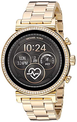 Michael Kors Access Women's Sofie Heart Rate' Touch-Screen Smartwatch with Stainless-Steel Strap, Gold, 18 (Model: MKT5062)