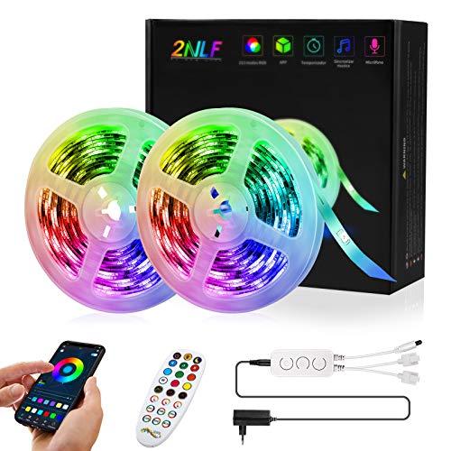 Strisce LED,2 rotoli da 5m RGB,24 Tasti telecomando IR,213Modalità RGB, App Controllato Musica, Luci Colorate per Decorazioni,Cucina, Bar, Festa,12V,1.5A,180LED[Classe di efficienza energetica A+++]