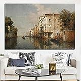 Xiwei Resorts Vintage Water City Venecia Paisaje Marino Pintura al óleo sobre Lienzo póster Impreso imágenes artísticas de Pared Modernas para Sala de Estar Pintura casera del Arte de la Pared