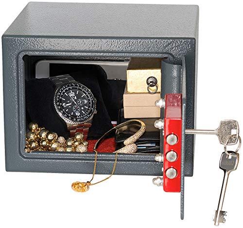 Xcase Tresor: Kompakter Stahlsafe mit 2 Doppelbart-Schlüsseln, 5 Liter (Mini Tresor)