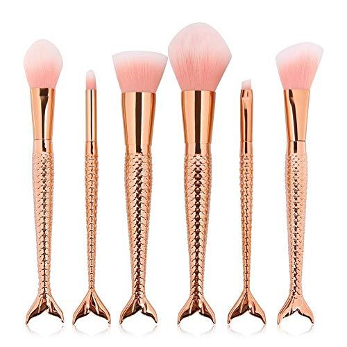 Professionnel 6 Pcs Blending Blush Foundation Brosses Contour Concealer Brosses Pinceaux De Maquillage Ensemble Mermaid Poignée Design Rose Gold Poignées