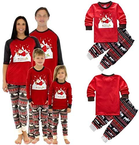 Kerstmis pyjama's Vrouwen Mannen Kids winter familie pyjama outfits Kerstman druk nachtjapon Deer afdrukken broek Leisure Suit (70)