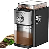 Conical Burr Coffee Grinder, CHEFFANO Electric Coffee Bean Grinder with 8.8oz Large Bean Hopper, 17 Grinding Settings, 2-12 Cups Selectors [ETL Approved] for French Press, Espresso, Drip, Percolator, Turkish Making