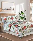 Hawaiian, Luau, Hibiscus, Surfing, Tropical, Beach House California Cal King Comforter & Sheet Set (8 Piece Bed in A Bag) + Homemade Wax Melts