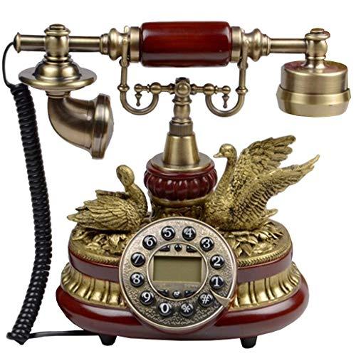 ZHOUYANG Teléfono Antiguo de Madera Vintage 60s Moda con Cable telefónico de teléfono Retro Conjunto de Accesorios Inicio Decoración