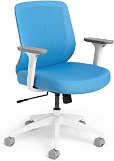 Poppin Pool Blue Max Task Chair, Mid Back, White Frame