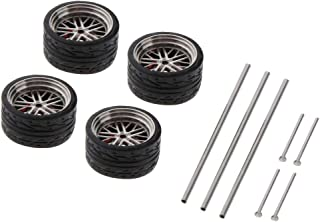 Tongina 4 Pieces 1:64 Modified Wheels Rubber Tires Spare Part for Remote Control Vehicle Car Model - A17