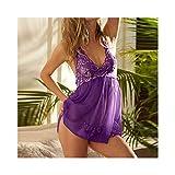 Linyuex Lace Mesh Halterneck Dress Sexy Lingerie Donne See-Through Chemises Ladies Pigiama (Color : Purple, Size : Medium)