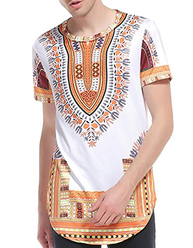 Miskely Men's Dashiki T Shirt Bright African Traditional Printed Summer Hip Hop Cotton Top Tees (US M = ASIAN L, Yellow)