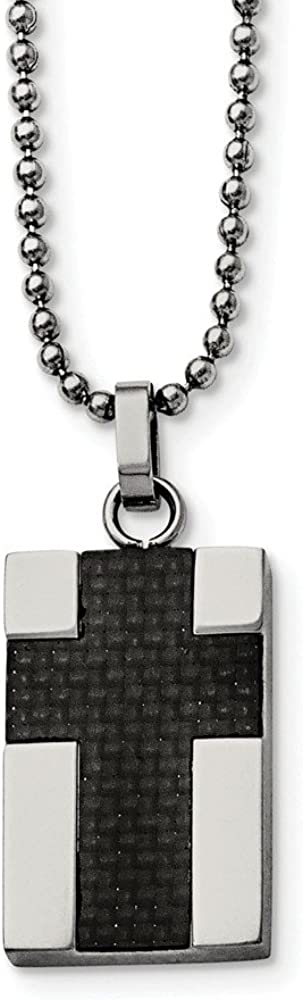 Solid Stainless Steel Men's Carbon Fiber Inlay Cross 22in Pendant Necklace Charm Chain 22