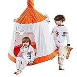 HAPPYPIE Kids Outdoor Waterproof Tree Play Tent, Hanging Space Capsule Swing & Hammock, Ambient Lights & Installation Accessories Included (Orange&White)