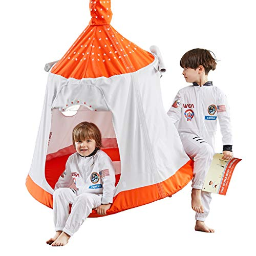 HAPPYPIE Kids Outdoor Waterproof Tree Play Tent, Hanging Space Capsule Swing & Hammock, Ambient Lights & Installation Accessories Included (Orange&White)