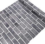 ATEE Source - Papel pintado para pared, diseño vintage de ladrillo, color gris