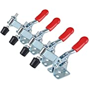 E-TING 4pcs Hand Tool Toggle Clamp 201B Red Plast Horizontal Quick Release Tool
