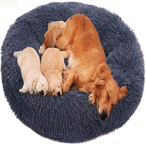 HANHAN Comfort Donut Dog Bed Wicker Jumbo Cushion Orthopedic Calming Sofa Extra Large XXL Anti Anxiety Cave xl Labrador Plush Medium Mattress xxxl Washable Cuddler dark grey