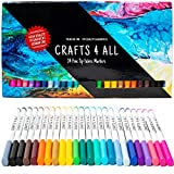 Fabric Markers Pens Permanent 24 Colors Fabric Paint Art Markers Set Child Safe & Non-Toxic. Graffiti Fine Tip Minimal Bleed by Crafts 4 ALL