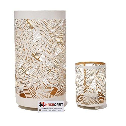 Hashcart Traditional Tea Light Candle Holder | Metal Candle Light Holder Set | Designer Votive Candle Holder Stand | White Votive Tea Light for Home Living Room & Office - Set of 2