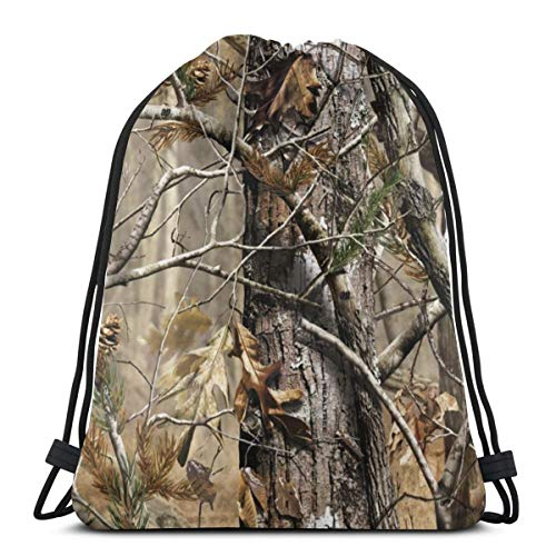 Realtree Camo Drawstring Bag Backpack Gym Dance Bag Backpack for Hiking Beach Travel Bags 17×14 Inches