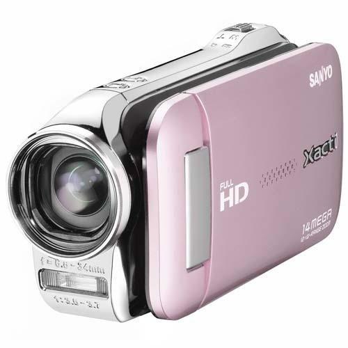 Sanyo Xacti VPC-GH1 Camcorder (SD Kartenslots, 5-Fach optischer Zoom, 6,9 cm Display, Mini HDMI) pink